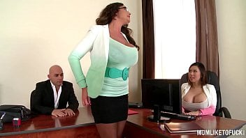 My Buxom Executive Mother Emma Booty Sets Up Office Three-way