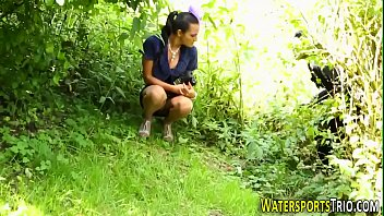 Lesbian pissing outdoor